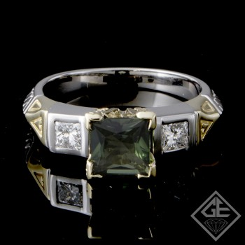 Ladies Classic Style 3-stone Fashion Ring with1.00 carat Princess Cut Green Tourmaline and 0.40 carat Princess Cut Diamonds in 14k-2-tone Gold