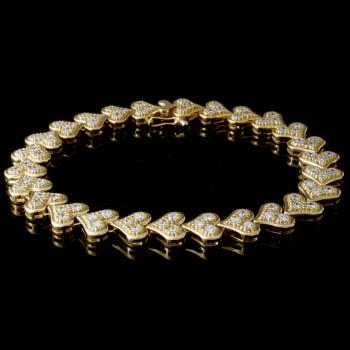 Custom 14K Yellow Gold Diamond Heart Bracelet