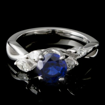 Custom Ladies Sapphire & Diamond Wedding Set