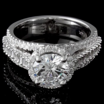 Custom 1.29 carat round brilliant diamond Halo Engagement Ring