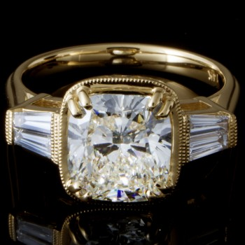 2.71 Custom Cushion Brilliant Cut Vintage-inspired Diamond Engagement Ring