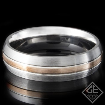 Men's Wedding Band 6 mm 14k White and Rose Gold
