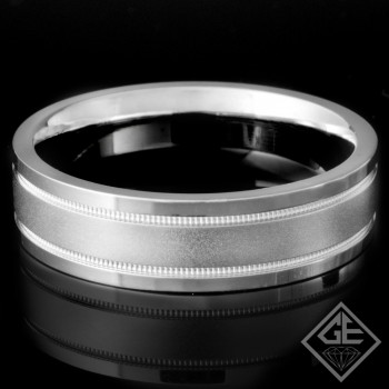 Men's Wedding Band 6 mm 14k White Gold