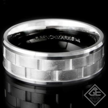 8MM 9.60 Grams Men's Wedding Band 14k White Gold