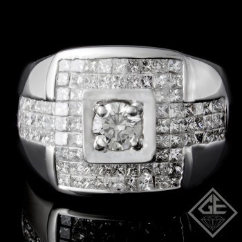 Men's Diamond Wedding Band 2.75 ct Princess 18k White Gold