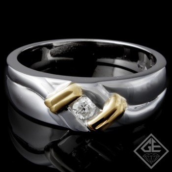 Men's Diamond Wedding Band 0.15 ct Round Brilliant 14k 2 Tone Gold