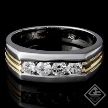 Men's Wedding Band 0.60 ct Round Diamond 14k 2 Tone Gold