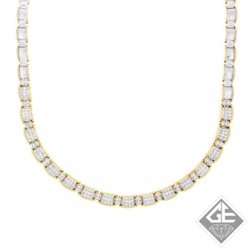 Princess Diamond Necklace in 18k 2 Tone Gold (15.15 ct. tw.)
