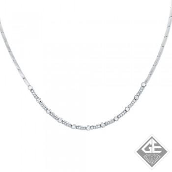 Round Diamond Necklace in 14k White Gold (3.75 ct. tw.)