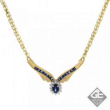 Ladies 14k Yellow Gold Fashion Necklace with Blue Sapphire and Diamonds