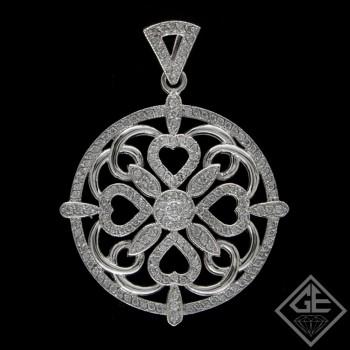Heart on a Round Diamond Ladies Pendant with 1.30 Ct. tw 14k White Gold