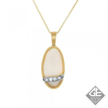 Ladies 14k Yellow Gold Opal and Diamond Pendant