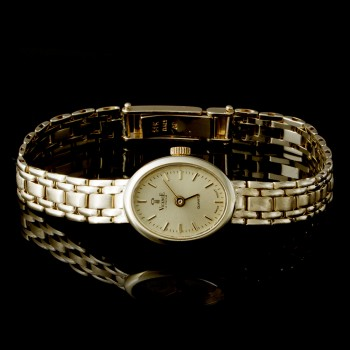 Ladies Vicence Watch with Fold Over Lock in 14k Yellow Gold