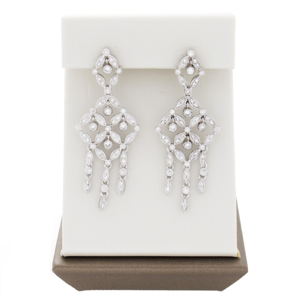 14k white gold antique style ladies diamond chandelier earrings mozeypictures Image collections